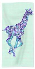 Purple And Aqua Running Baby Giraffe Bath Towel by Jane Schnetlage