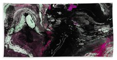 Purple And Black Minimalist / Abstract Painting Hand Towel by Ayse Deniz