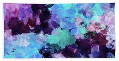 Hand Towel featuring the painting Purple And Blue Abstract Art by Ayse Deniz