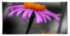 Bath Towel featuring the photograph Purple And Orange Coneflower Happy Mothers Day by Shelley Neff