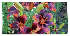 Purple And Orange Tiger Lily Hand Towel