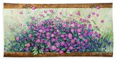 Purple And Pink Flowers Bath Towel