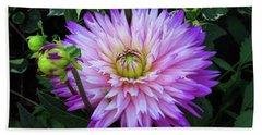 Purple And White Dahlia Bath Towel by Rosalie Scanlon