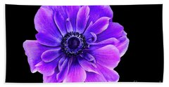 Purple Anemone Flower Hand Towel by Mariola Bitner