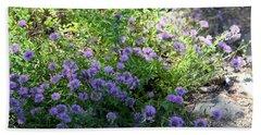 Purple Bachelor Button Flower Hand Towel