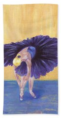 Hand Towel featuring the painting Purple Ballerina by Jamie Frier