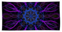 Bath Towel featuring the photograph Purple Blue Kaleidoscope Square by Adam Romanowicz