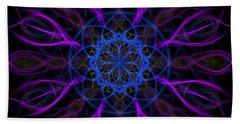 Hand Towel featuring the photograph Purple Blue Kaleidoscope Square by Adam Romanowicz