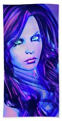 Purple Blue Portrait Hand Towel