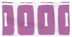 Purple Boxes- Art By Linda Woods Bath Towel