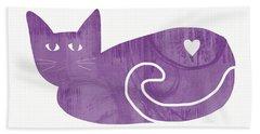 Purple Cat- Art By Linda Woods Bath Towel