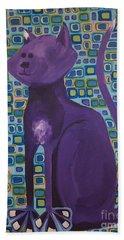 Purple Cat Hand Towel
