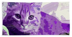 Purple Cat Hand Towel