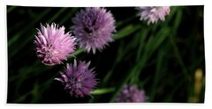 Hand Towel featuring the photograph Purple Chives by Angela Rath
