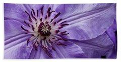 Purple Clematis Blossom Bath Towel