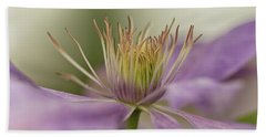 Hand Towel featuring the photograph Purple Clematis Macro by Jacqi Elmslie