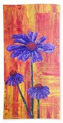 Purple Daisy Bath Towel by T Fry-Green