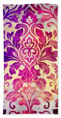 Purple Damask Pattern Hand Towel