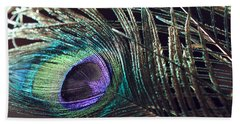 Purple Feather With Dark Background Bath Towel by Angela Murdock