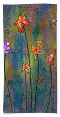 Bath Towel featuring the painting Purple Fields Of Joy by Patricia Cleasby