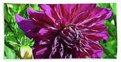 Hand Towel featuring the digital art Purple Floral by Kirt Tisdale