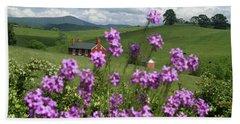 Purple Flower In Landscape Hand Towel