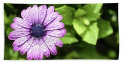 Purple Flower On Green Hand Towel