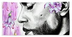 Purple Flower Rain  Prince, Roger Nelson Hand Towel by Heidi Kriel