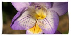 Purple Fresia Flower Hand Towel by Ralph A  Ledergerber-Photography
