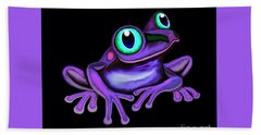 Hand Towel featuring the painting Purple Frog  by Nick Gustafson