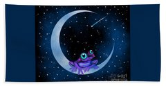 Bath Towel featuring the painting Purple Frog On A Crescent Moon by Nick Gustafson