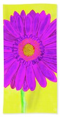 Purple  Gerbera On Yellow, Watercolor Bath Towel by Irina Afonskaya
