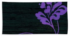 Bath Towel featuring the mixed media Purple Glamour On Black Weave by Writermore Arts
