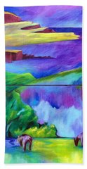 Purple Graze Hand Towel by Elizabeth Fontaine-Barr