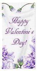 Purple Heart For Valentine Hand Towel