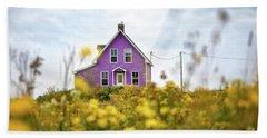 Purple House And Yellow Flowers Bath Towel