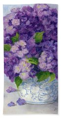 Purple Hydrangeas Bath Towel