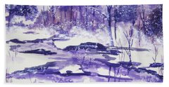 Bath Towel featuring the painting Purple Ice On Kaaterskill Creek by Ellen Levinson