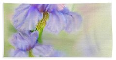 Hand Towel featuring the painting Purple Iris by Bonnie Willis