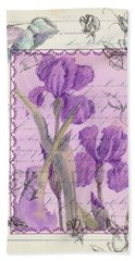 Hand Towel featuring the drawing Purple Iris by Cathie Richardson
