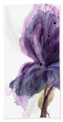 Purple Iris Bath Towel by Dawn Derman