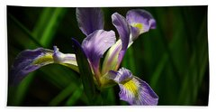 Purple Iris Bath Towel by Lisa L Silva