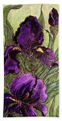 Purple Irises Hand Towel