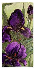Purple Irises Bath Towel