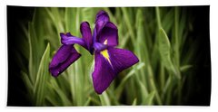 Purple Japanese Iris Bath Towel