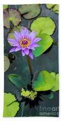 Purple Lilly With Lilly Pads Hand Towel