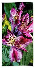 Purple Lily Hand Towel by Mark Dunton