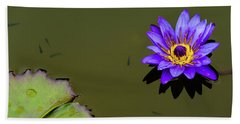 Purple Lily With Tiny Fish Hand Towel