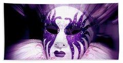 Purple Mask Flash Bath Towel by Amanda Eberly-Kudamik