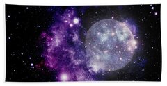 Purple Nebula Bath Towel by Kelly Awad